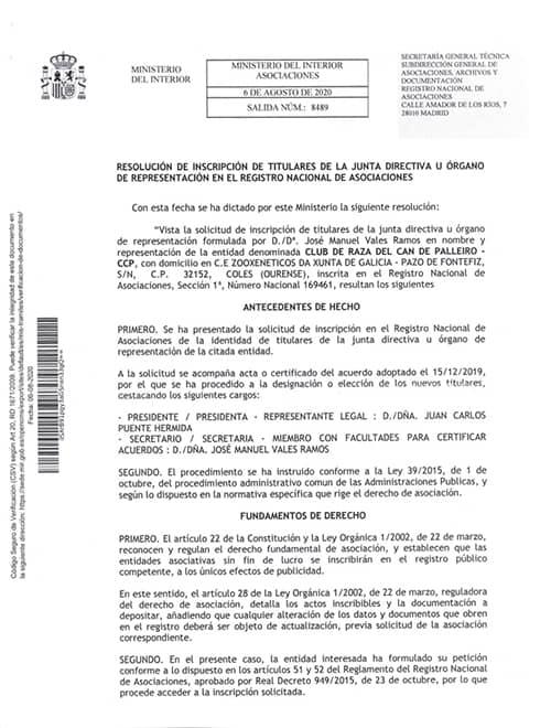 resolución inscripción titulares directiva